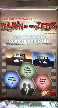 Spirit Games (Est. 1984) - Supplying role playing games (RPG), wargames rules, miniatures and scenery, new and traditional board and card games for the last 20 years sells Dawn of the Zeds 3rd Edition: Expansion Pack 3 Rumors and Rails