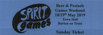 Spirit Games (Est. 1984) - Supplying role playing games (RPG), wargames rules, miniatures and scenery, new and traditional board and card games for the last 20 years sells Beer and Pretzels Ticket: Sunday 21st May 2017 by