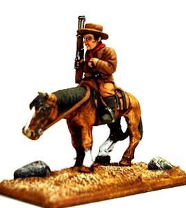 Spirit Games (Est. 1984) - Supplying role playing games (RPG), wargames rules, miniatures and scenery, new and traditional board and card games for the last 20 years sells [MWGP01] Mounted Personalities: Billy the Kid<br> carrying Winchester
