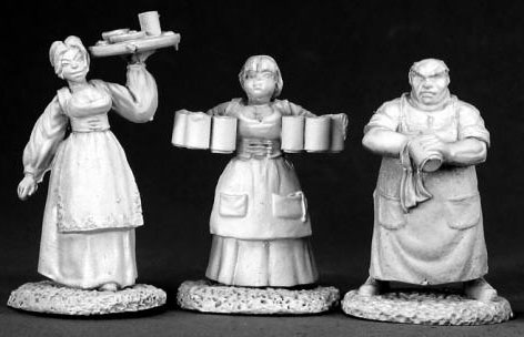 Spirit Games (Est. 1984) - Supplying role playing games (RPG), wargames rules, miniatures and scenery, new and traditional board and card games for the last 20 years sells [02583] Townsfolk 1 (bartender, 2 wenches)